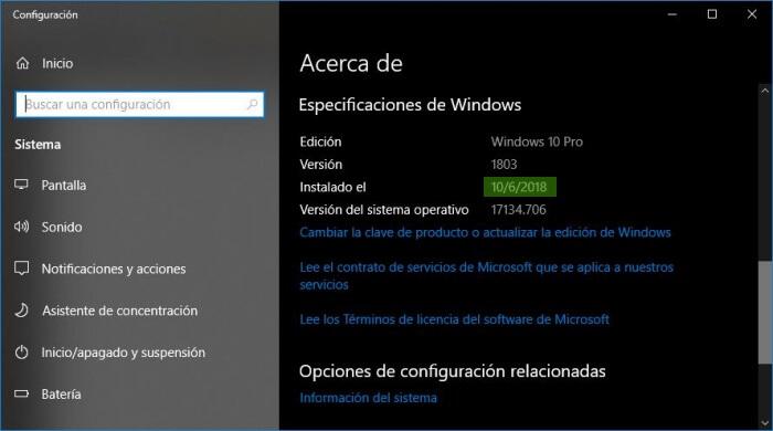 Fecha de instalación de Windows 10 en página Acerca de.