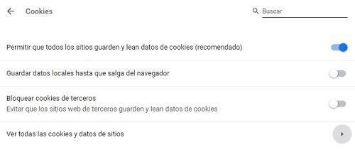Cómo activar cookies en Chrome