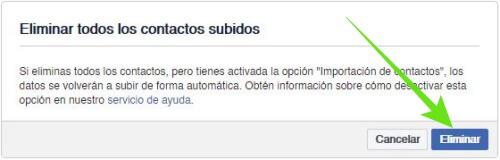 Borrar todos mis contactos importados en FB.