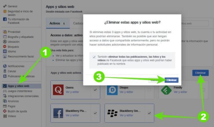 Desautorizar aplicaciones y sitios web en Facebook