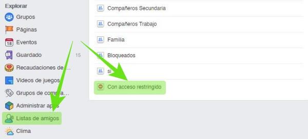 Lista con acceso restringido en Facebook