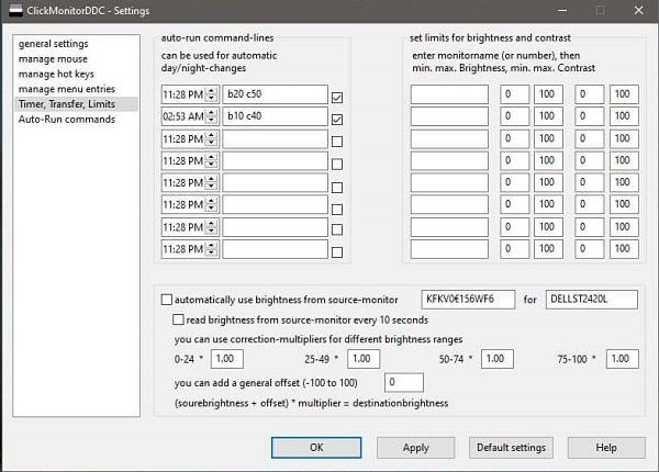 Cambiar brillo de pantalla automáticamente en Windows 10 con ClickMonitorDDC