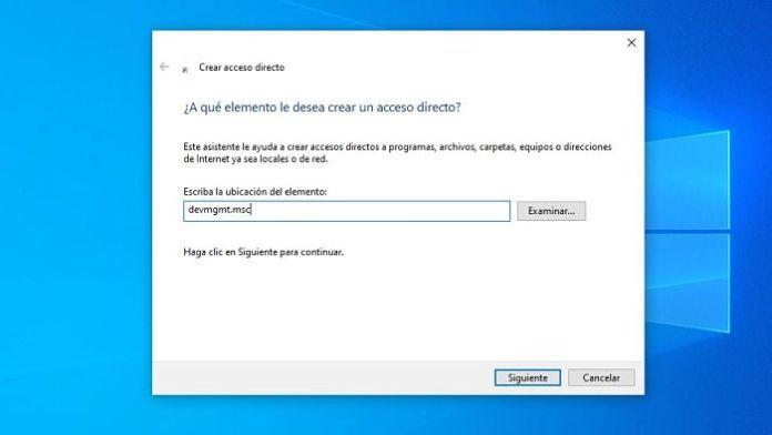 Acceso directo al Administrador de dispositivos
