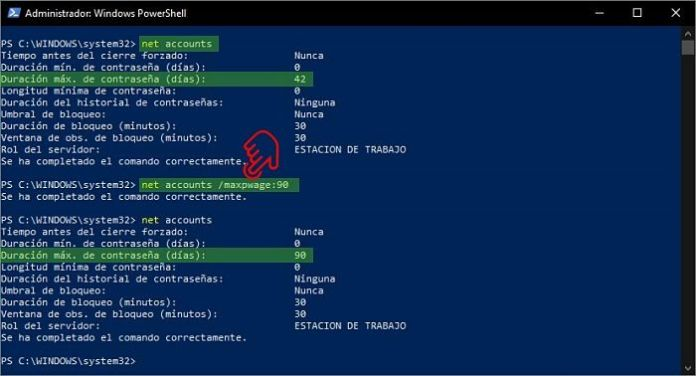 Establecer caducidad de contraseña en Windows 10