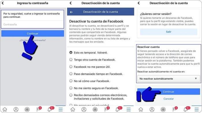 Cómo cerrar FB temporalmente desde el celular