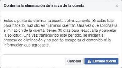 Eliminar una cuenta de Facebook para siempre