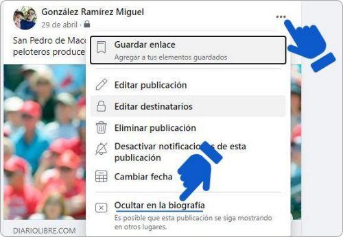 Ocultar una publicación en Facebook