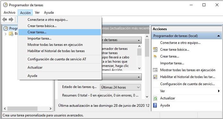 Crear una tarea para que Windows 10 te diga la hora.