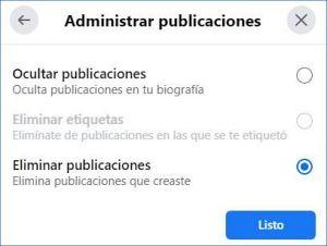 Cómo eliminar todas las publicaciones de FB rápido.