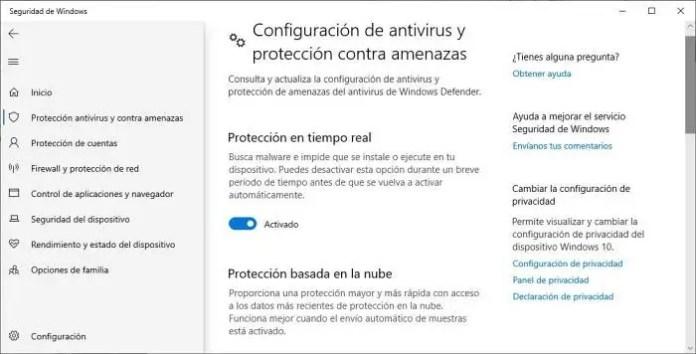 Cómo activar Windows Defender en Windows 10.