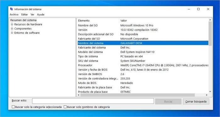 Información del sistema: Cómo saber el nombre de mi PC en Windows 10.
