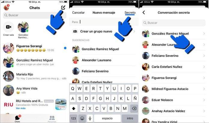 Enviar mensajes privados con conversaciones secretas en Messenger