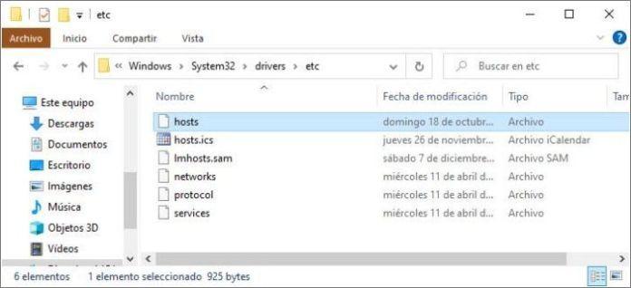 Ubicación del archivo hosts de Windows