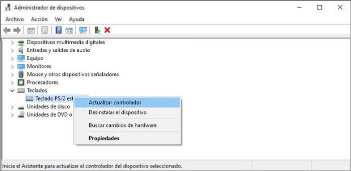 Actualizar controlador del teclado para solucionar el error