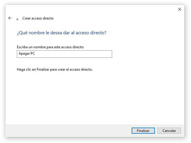Poner nombre al acceso directo apagar Windows 10