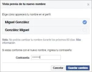 Cómo cambiar mi nombre de Facebook