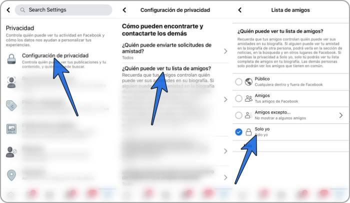 Cómo ocultar los amigos en Facebook desde el celular