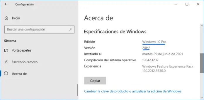 Acerca de: Cómo se que Windows tengo.