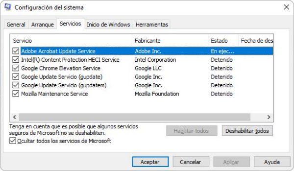 Deshabilitar servicios para optimizar y acelerar mi pc Windows 10
