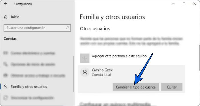 Cambiar tipo de cuenta de usuario en Windows 10