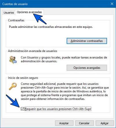 Activar o quitar Ctrl+Alt+Supr al iniciar Windows 10