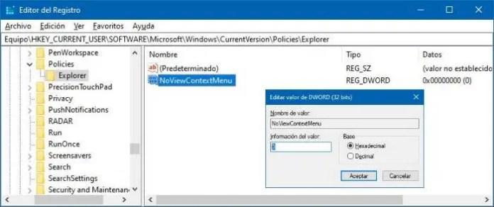Cómo activar o desactivar el menú contextual en Windows 10.