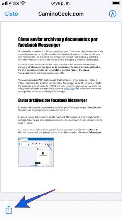 Cómo enviar archivos PDF y otros por Messenger desde mi celular