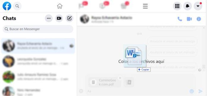 Enviando archivos por Facebook Messenger
