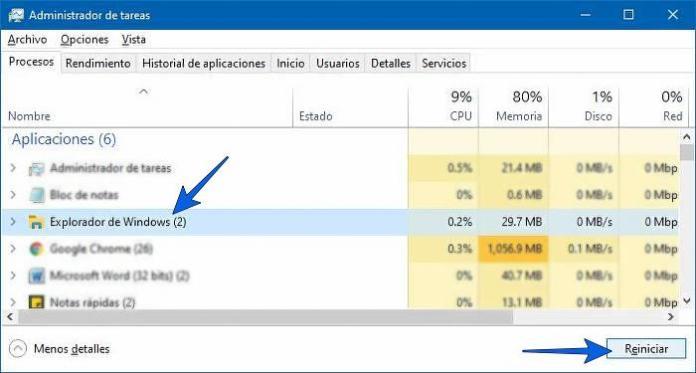 Reiniciar el Explorador de Windows