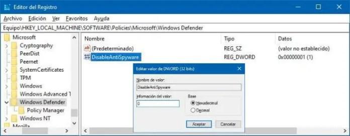 Reparar no puedo activar Windows Defender en el Registro