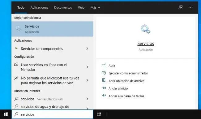 Entrar a los Servicios de Windows