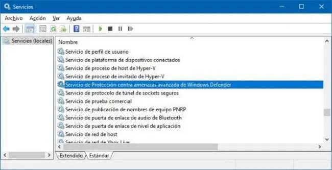 Reparar Windows Defender iniciando el servicio del antivirus