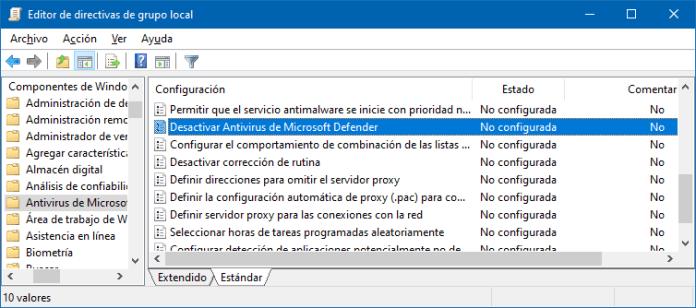Activar Windows Defender en Directivas de grupo