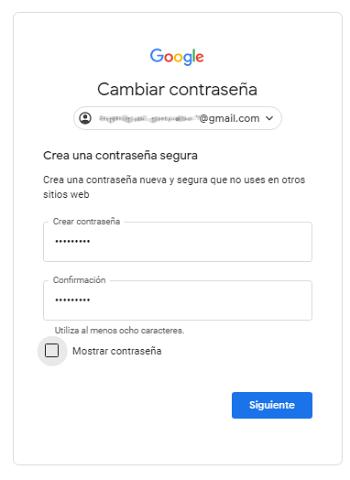 Restableciendo la contraseña de una cuenta Gmail hackeada