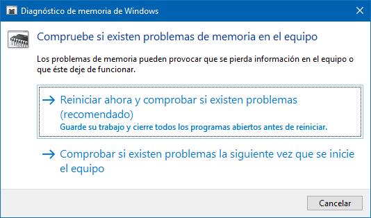 Herramienta Diagnóstico de Memoria de Windows para comprobar la salud de la RAM.
