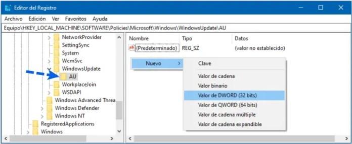 Desactivar Windows Update en Windows 10 regedit