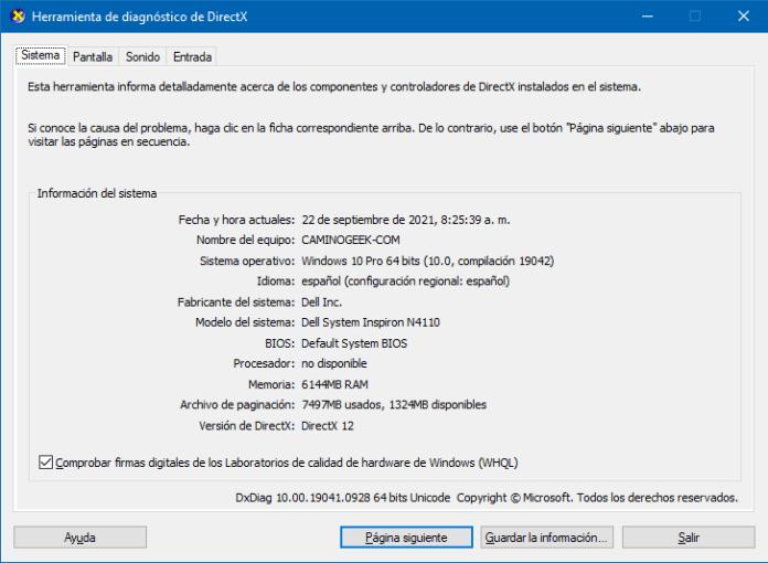 Cómo mirar las especificaciones de mi PC usando DXDiag