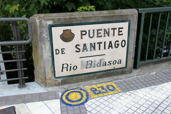 <b>Puente de Santiago Irun</b> Spain Camino del Norte, sign, Rio Bidasoa