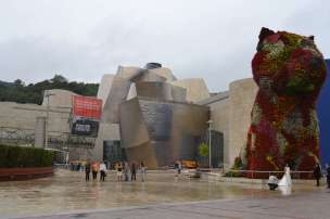 The Guggenheim Museum in Bilbao, and the flower puppy