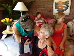 Annika, right, at a party for Mom