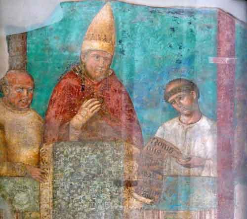 Fresco aus dem Lateranpalast das Papst Bonifacius den Achten zeigt.