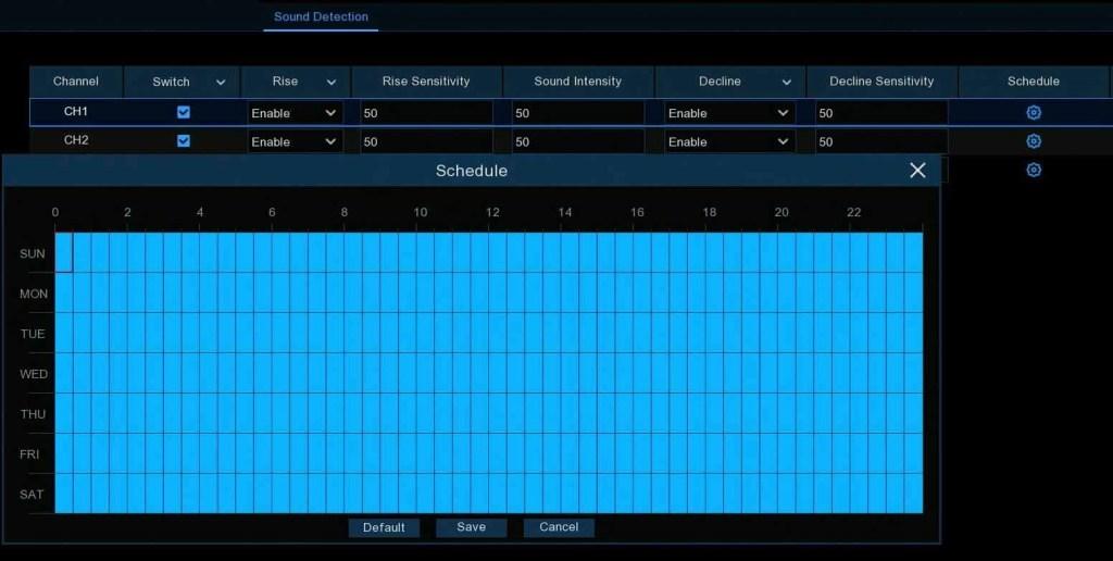 2320p16N camius 16 Channel NVR sound detection schedule