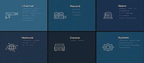 8 channel DVR setup menu