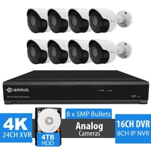 16 Channel DVR, 8 x 5MP Security Camera System, 4TB - 24K85M4T