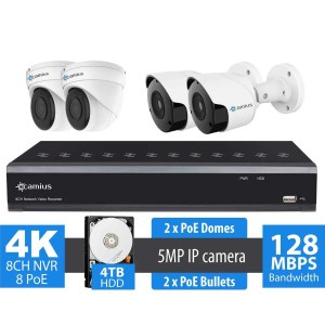 5MP 4 Camera Security System with 4TB 8 Channel PoE IP NVR