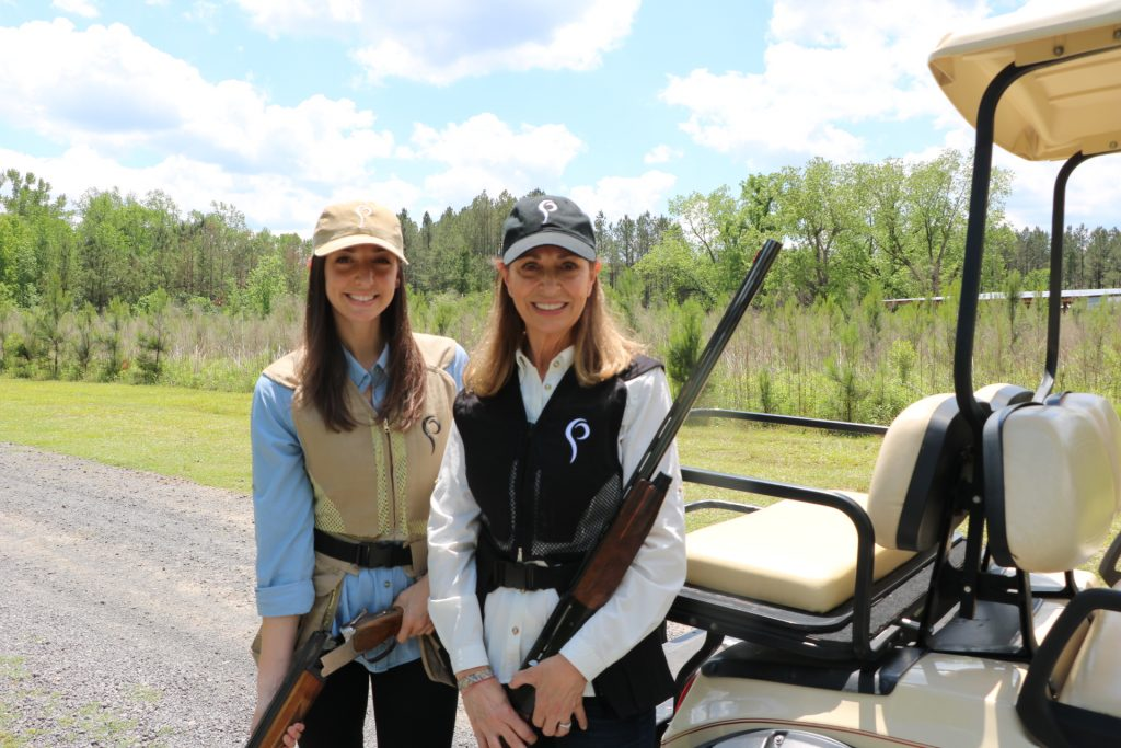 Mom and daughter clay shooting together