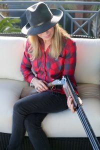 Beautiful shot of huntress with new Beretta Silver Pigeon 20 gauge shotgun