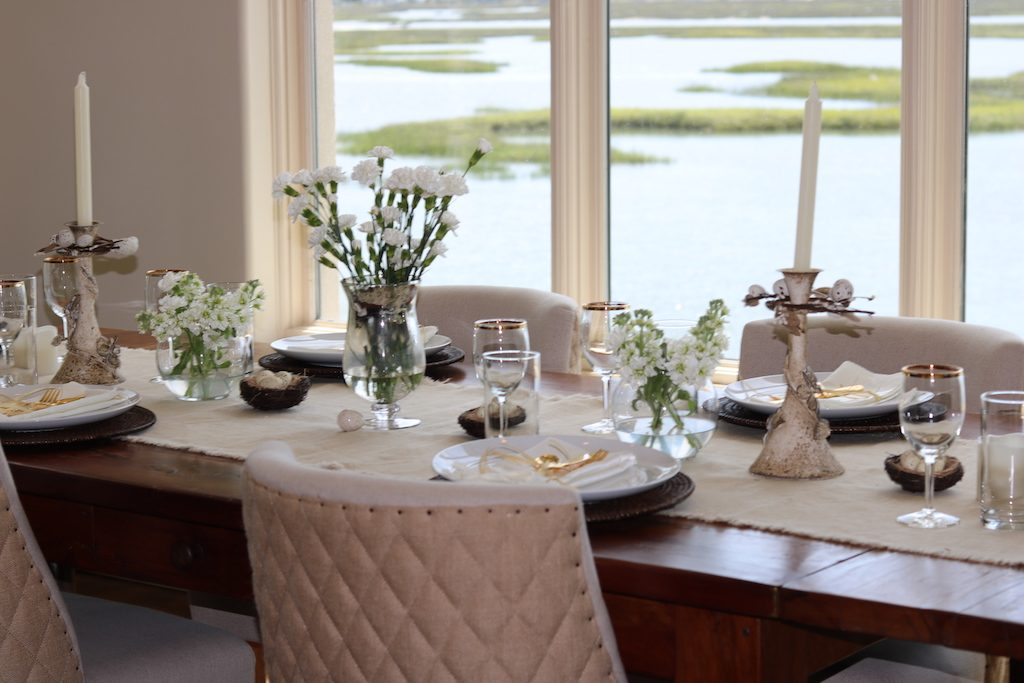 Beautiful tablescape for quail dinner