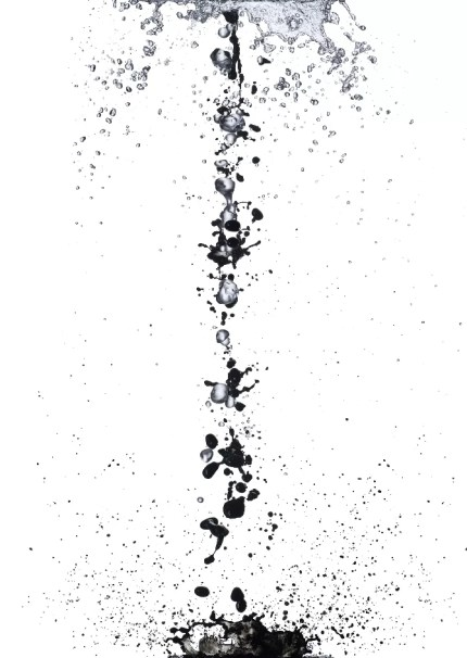 This image gives an impression that the artist has painstakingly drawn every single droplet and speck of water. Photograph/Shinichi Maruyama