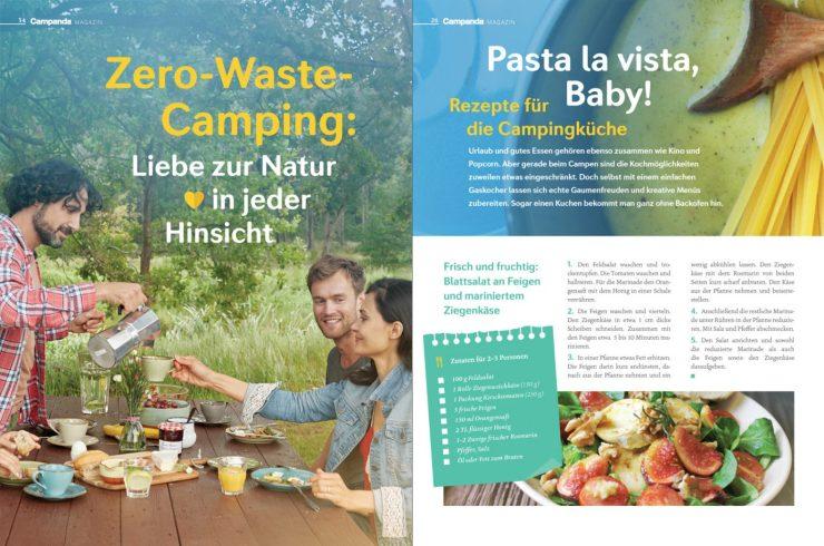 Artikel über Zero Waste Camping neben einem Artikel für Rezeptideen die gut geeignet für den Wohnmobiltrip sind.